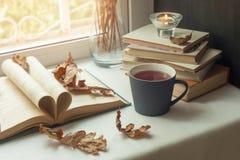 秋天读书时间和浪漫,温暖,舒适靠窗座位的概念打开了书,光通过快门,土气样式家装饰 库存图片