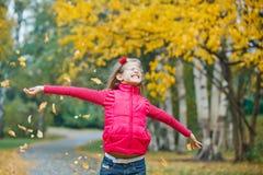 秋天逗人喜爱女孩公园走 库存图片