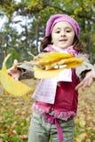 秋天逗人喜爱的女孩公园 图库摄影