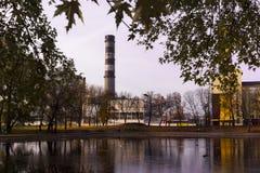 秋天都市河撒布与下落的叶子,反射在水中是可看见的管子植物 库存图片
