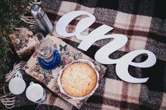 秋天野餐用自创蓝草莓饼和茶在热水瓶 免版税库存图片