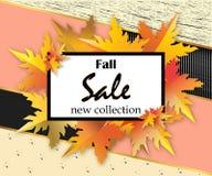 秋天销售与字法,桔子的飞行物模板在现代抽象背景离开 秋天促进 海报,横幅 免版税库存照片