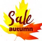 秋天销售书信设计 秋天叶子 标签,横幅模板 免版税库存图片