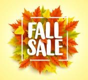 秋天销售文本与五颜六色的3D现实秋天槭树的传染媒介横幅离开 向量例证