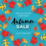 秋天销售纸裁减叶子 9月飞行物模板 文本的空间 Origami叶子 橡木 圈子秋天叶子海报 库存图片