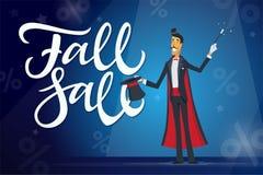 秋天销售-动画片人与书法文本的字符例证 免版税库存照片