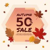 秋天销售50% 横幅促进秋天季节,与落的叶子背景离开 秋天季节和购物 免版税库存图片