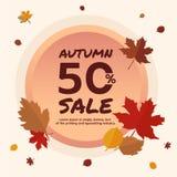 秋天销售50% 横幅促进秋天季节,与落的叶子背景离开 秋天季节和购物 免版税库存照片