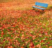秋天长凳离开公园 免版税库存照片