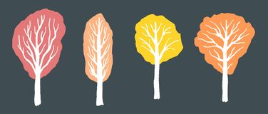 秋天集合结构树 库存例证