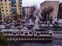 秋天雪在布加勒斯特 库存照片