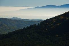 秋天雾滚动在Zeljin山之间小山  库存图片