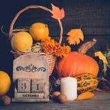 秋天静物画用南瓜和落的叶子 日历概念日期冷面万圣节愉快的藏品微型收割机说大镰刀身分 库存图片