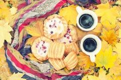 秋天静物画,两个杯子用茶在手,蛋糕,野餐上在秋天公园 免版税库存照片
