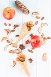 秋天静物画-奶蛋烘饼杯子,锥体,烘干了苹果 免版税图库摄影