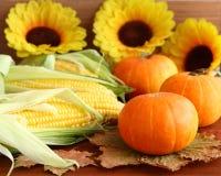 秋天静物画用南瓜、玉米、叶子和向日葵 免版税图库摄影