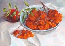 秋天静物画用苹果和花揪-油画 免版税图库摄影