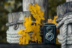 秋天音乐会,在木背景的减速火箭的照相机 免版税库存图片