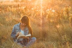秋天领域的美丽的女孩读书的 女孩坐草,读书 休息和读书 室外读取 图库摄影
