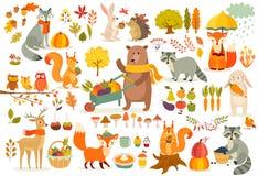 秋天题材集合,森林动物手拉的样式 皇族释放例证