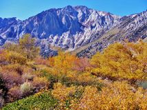 秋天颜色之前围拢的山脉 库存照片