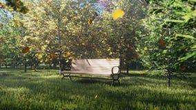 秋天颜色公园 五颜六色的秋天树看法在一晴朗的秋天天 一张偏僻的公园长椅 飞行秋叶 库存例证