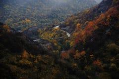 秋天颜色和小河与金属桥梁 免版税库存照片