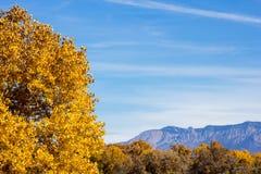 秋天颜色和桑迪亚山 库存图片