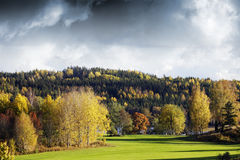 秋天颜色和横向 免版税库存图片