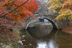 秋天颜色和老石头在Namsangol传统民间村庄,汉城,韩国成拱形桥梁- 2013年11月 库存图片