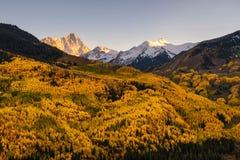 秋天颜色资本峰顶, snowmass村庄,科罗拉多 库存照片