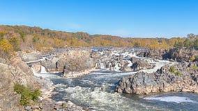 秋天颜色,波托马克河,河足迹,巨大秋天国家公园, VA 免版税图库摄影