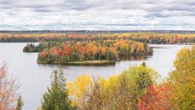 秋天颜色, Highbanks足迹, AuSable风景小路, MI 免版税库存图片