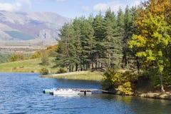 秋天颜色-与森林的山小山在湖附近 免版税库存照片