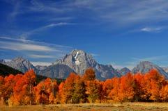 秋天颜色围拢在盛大Tetons的岩石峭壁 图库摄影
