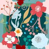 秋天颜色 有开花的花的丝绸围巾 免版税图库摄影