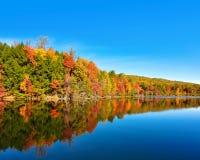 秋天风景和秋天树反射在海湾Mountain湖在Kingsport,田纳西 免版税库存照片
