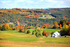 秋天风景在农村佛蒙特 免版税库存照片