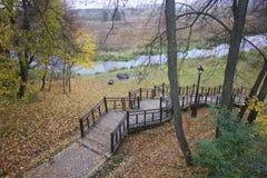 秋天风景在城市公园 在地面上不同的树荫下落的黄色叶子地毯  从步行桥 免版税库存图片