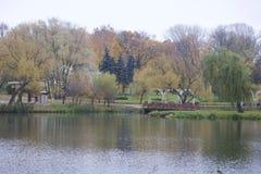 秋天风景在城市公园 您能看到湖、被染黄的叶子和小径的水表面 木桥conn 免版税库存图片