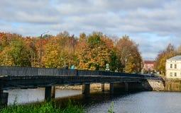 秋天风景在维堡,俄罗斯 免版税库存图片