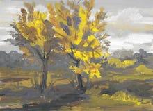 秋天风景树胶水彩画颜料恶劣天气 免版税库存图片