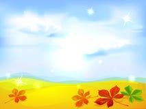 秋天风景背景-传染媒介 免版税库存图片