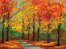 秋天风景,路传染媒介在公园。 免版税库存图片
