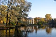秋天风景-有落叶的公园 免版税库存图片