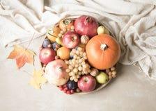秋天食物概念 水果、蔬菜和坚果在木回合 免版税图库摄影