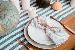 秋天餐位餐具 库存照片