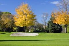 秋天高尔夫球砂槽 库存照片