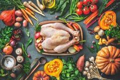 秋天鲜美感恩或Christma的菜成份 免版税库存照片