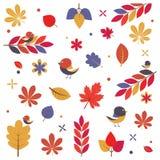秋天鸟和叶子 免版税库存照片